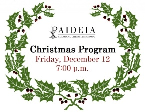 Christmas Program – Friday, December 12, 7:00 p.m.