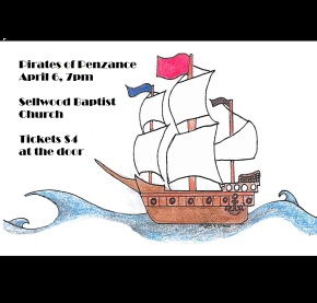 Pirates of Penzance, April 6, 7pm